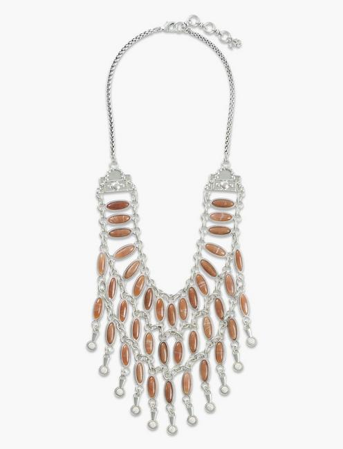 PINK STONE DRAMA COLLAR NECKLACE, SILVER