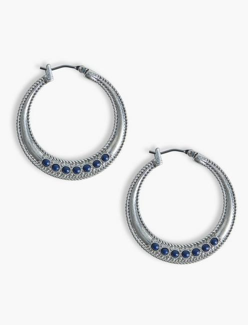 ROPE TEXTURED LAPIS HOOPS, SILVER