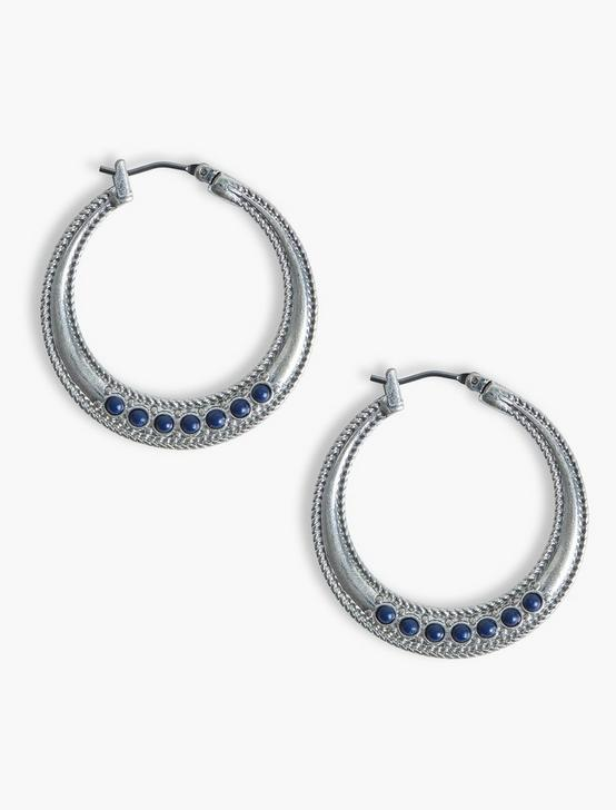 ROPE TEXTURED LAPIS HOOPS, SILVER, productTileDesktop