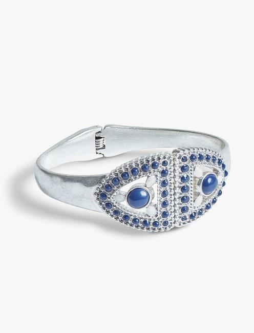 LAPIS AND PEARL HINGE CUFF, SILVER