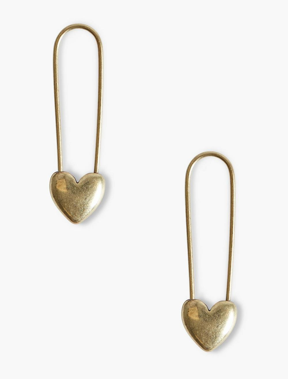 GOLD SAFETY PIN HEART EARRINGS, image 1
