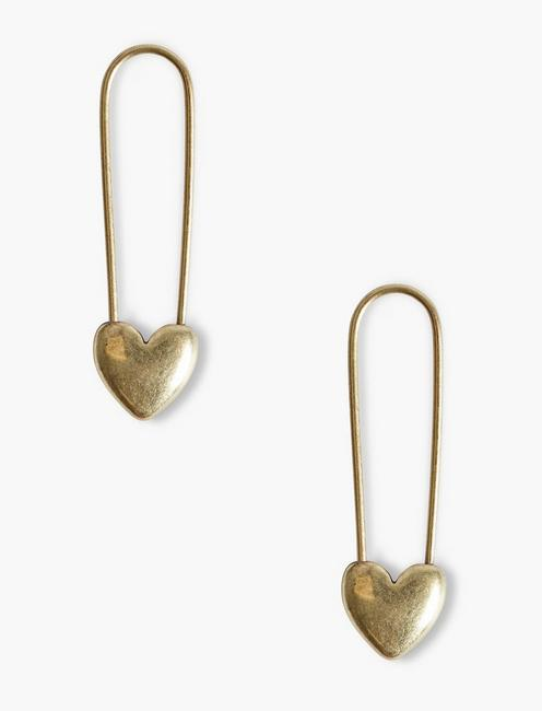GOLD SAFETY PIN HEART EARRINGS, GOLD
