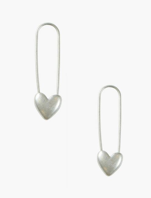 SILVER SAFETY PIN HEART EARRINGS,
