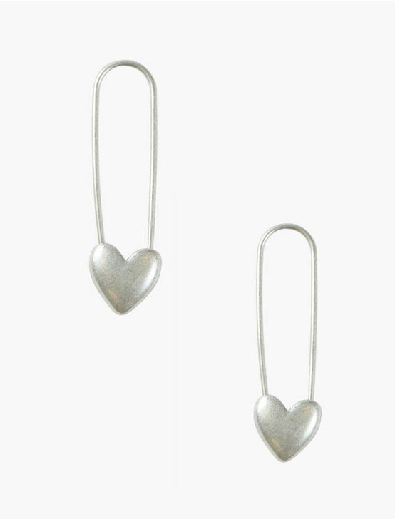 Silver Safety Pin Heart Earrings