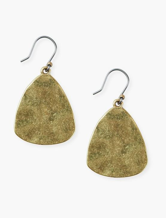 HAMMERED DROP EARRINGS, GOLD, productTileDesktop