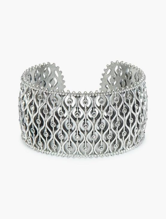 OPENWORK PAVE CUFF, SILVER, productTileDesktop