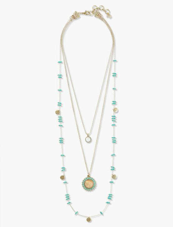BEADED LUCKY LAYER NECKLACE, GOLD, productTileDesktop