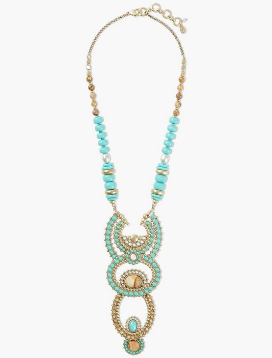 BEADED DRAMA NECKLACE, TWO TONE, productTileDesktop