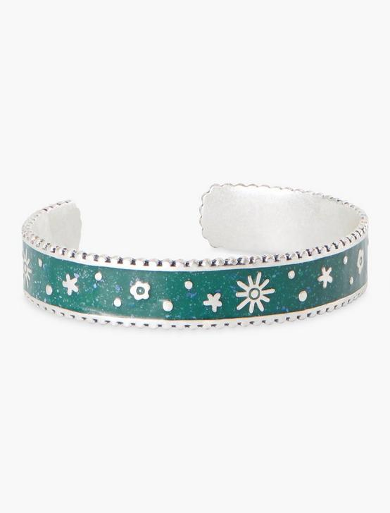 ENAMEL FLORAL INLAY CUFF, SILVER, productTileDesktop