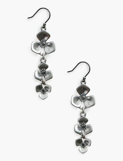 FLORAL STATEMENT DROPS, SILVER