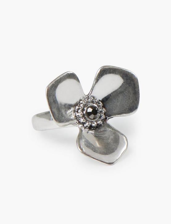 SILVER FLOWER RING, SILVER, productTileDesktop
