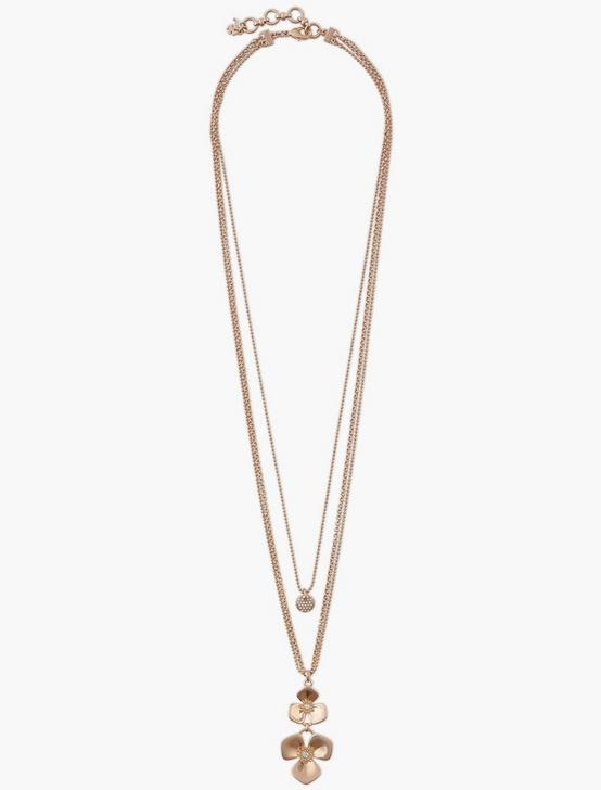 FLORAL LAYER NECKLACE, ROSE GOLD, productTileDesktop