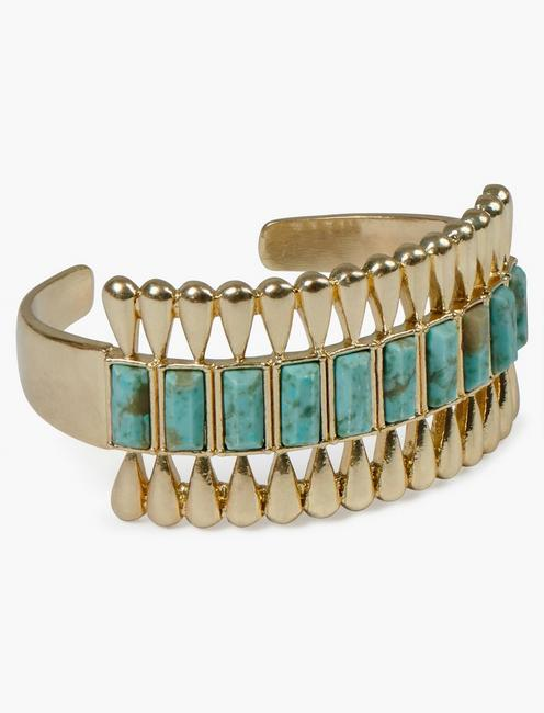 INLAID TURQUOISE GOLD DECO CUFF,