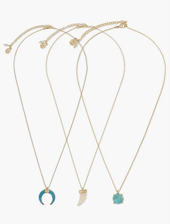 TUSK AND STONE NECKLACE SET, GOLD, productTileDesktop