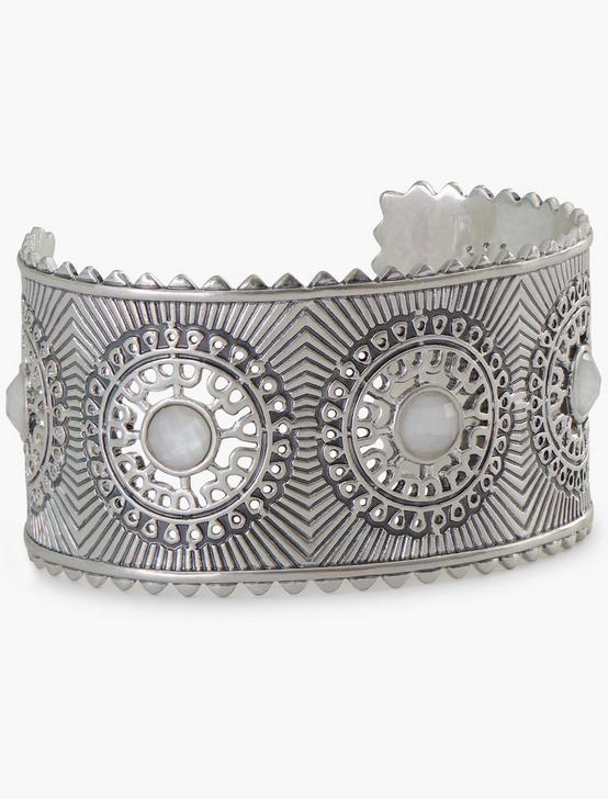 WHITE STONE STATEMENT CUFF, SILVER, productTileDesktop