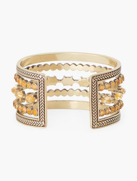 SET STONE STATEMENT CUFF, GOLD, productTileDesktop