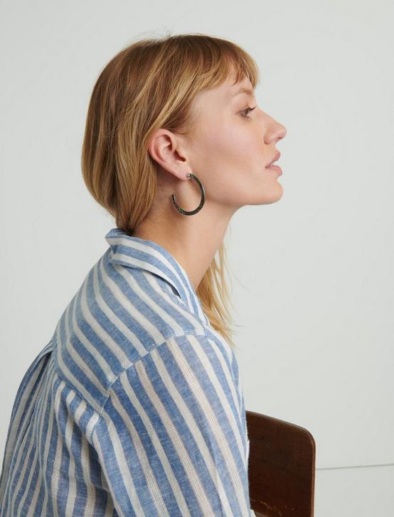 MARBLE HOOP EARRING, SILVER, productTileDesktop