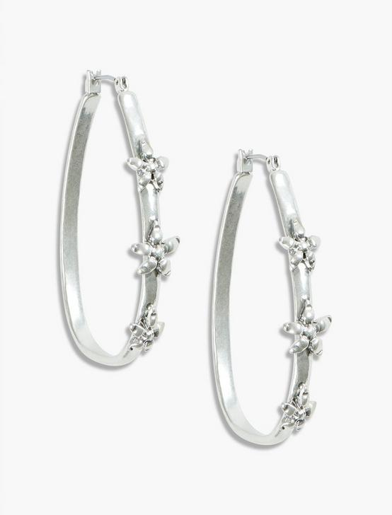 OPENWORK FLOWER HOOPS, SILVER, productTileDesktop