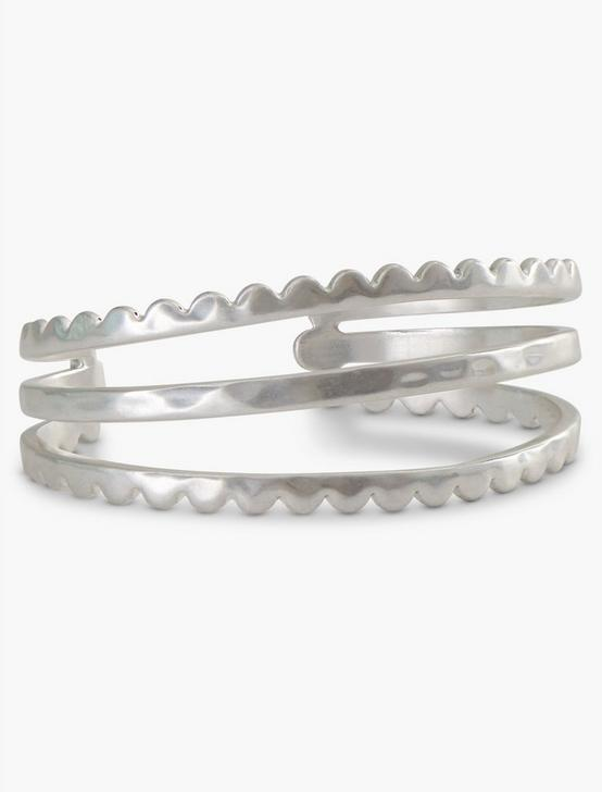 SILVER SCALLOP OPEN CUFF, SILVER, productTileDesktop
