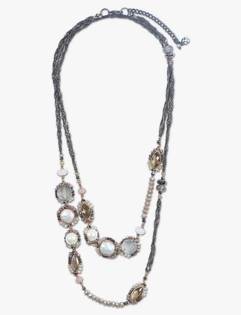 PEARL AND PINK STONE WRAP NECKLACE,