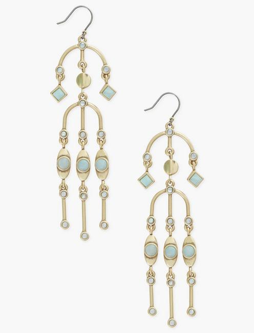 SET STONE EARRINGS, GOLD