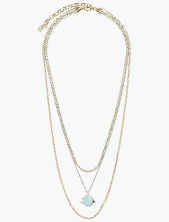 SET STONE LAYER NECKLACE, TWO TONE, productTileDesktop
