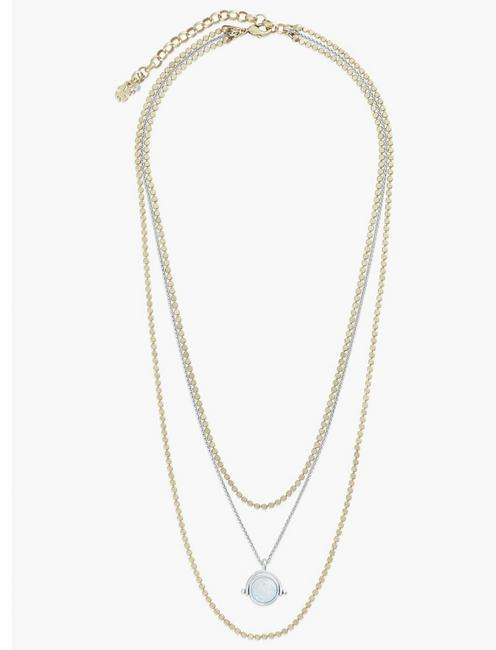 SET STONE LAYER NECKLACE, TWO TONE