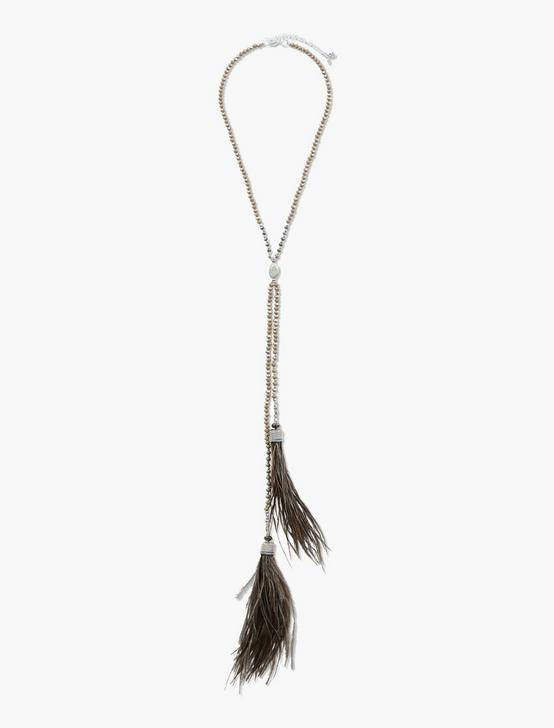 FEATHER TASSEL CHOKER  NECKLACE, TWO TONE, productTileDesktop