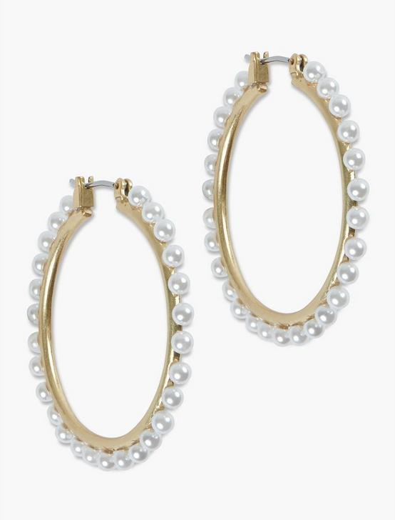 PEARL BEADED HOOP EARRING, GOLD, productTileDesktop