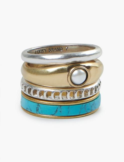 ARIEL BLUE RING STACK, TWO TONE