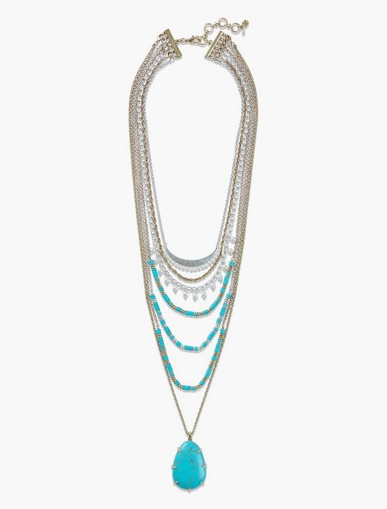 TURQ STATEMENT NECKLACE, TWO TONE, productTileDesktop
