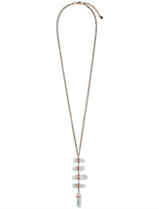Y STONE NECKLACE, TWO TONE, productTileDesktop