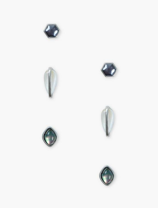 GEO STUD SET, SILVER, productTileDesktop