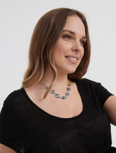 ABALONE COLLAR NECKLACE, SILVER