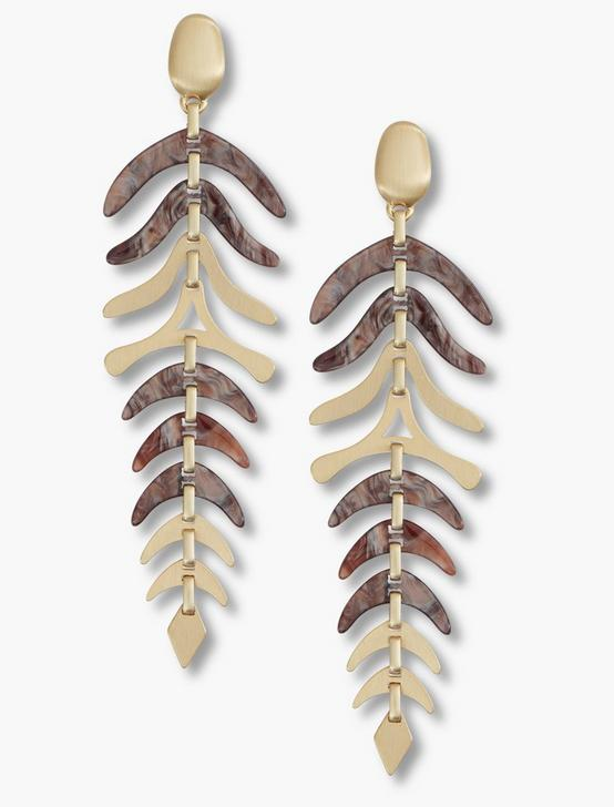 ACETATE LEAVES EARRINGS, GOLD, productTileDesktop