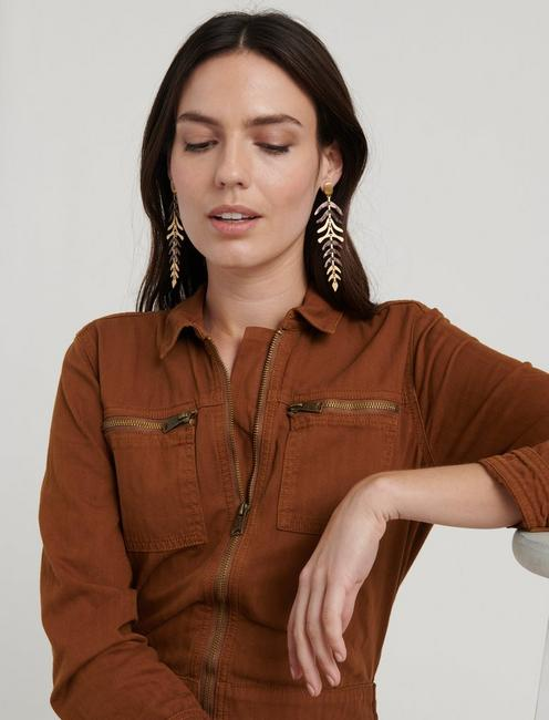 Statement Acetate Leaf Earrings, GOLD