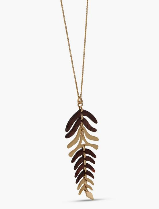 ACETATE LEAF PENDANT, GOLD, productTileDesktop