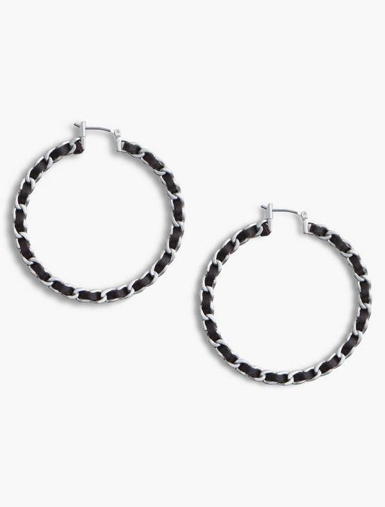 LEATHER WRAP HOOPS, SILVER, productTileDesktop