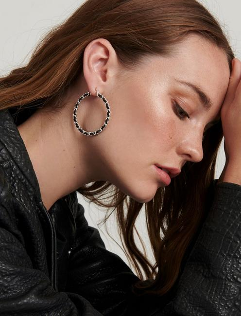 LEATHER WRAP HOOPS, SILVER