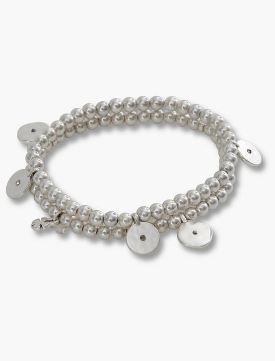 SILVER POINT BEADED BRACELET SET, SILVER, productTileDesktop