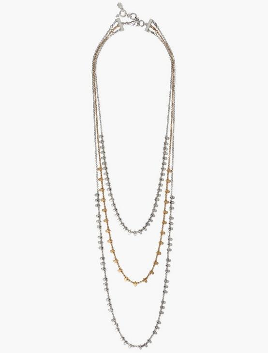 TWO TONE POINT LAYER CHAIN NECKLACE, TWO TONE, productTileDesktop