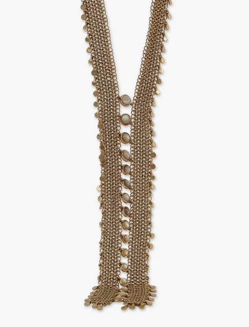LAYERED CHAMPAGNE STRAND CHAIN STATEMENT NECKLACE, GOLD