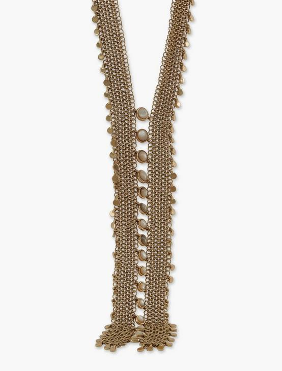 LAYERED CHAMPAGNE STRAND CHAIN STATEMENT NECKLACE, GOLD, productTileDesktop