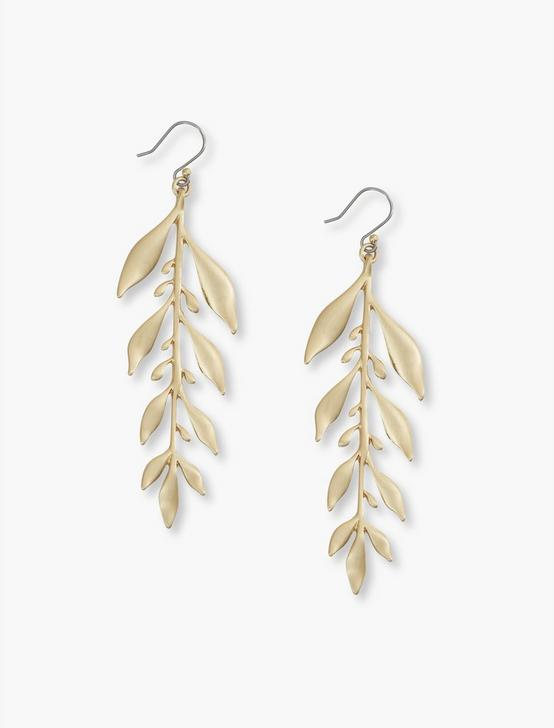 LEAF DROP EARRINGS, GOLD, productTileDesktop