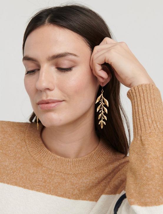 LEAF DROP EARRINGS, GOLD, productTileDesktop