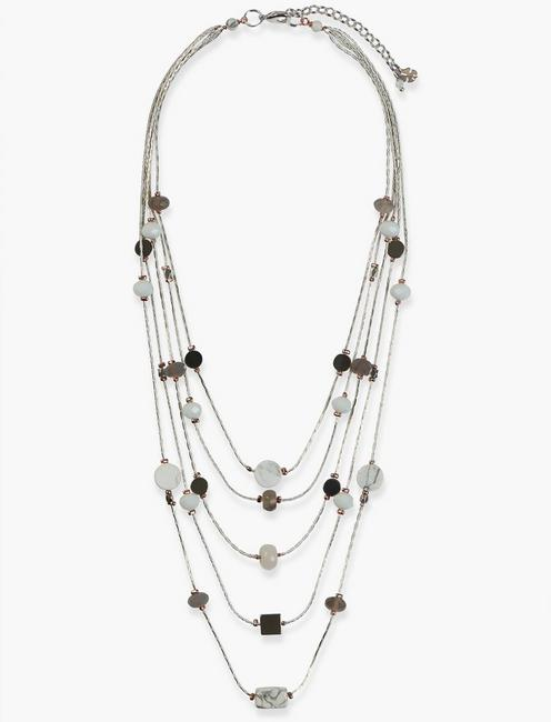 BEADED LAYER NECKLACE, TWO TONE