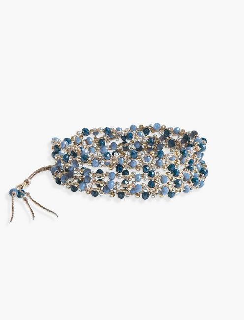 BEADED BLUE WRAP BRACELET, TWO TONE