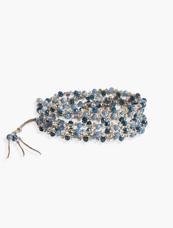 BEADED BLUE WRAP BRACELET, TWO TONE, productTileDesktop