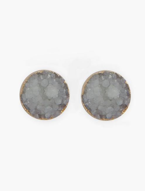 PURPLE DRUZY STUD EARRINGS, SILVER