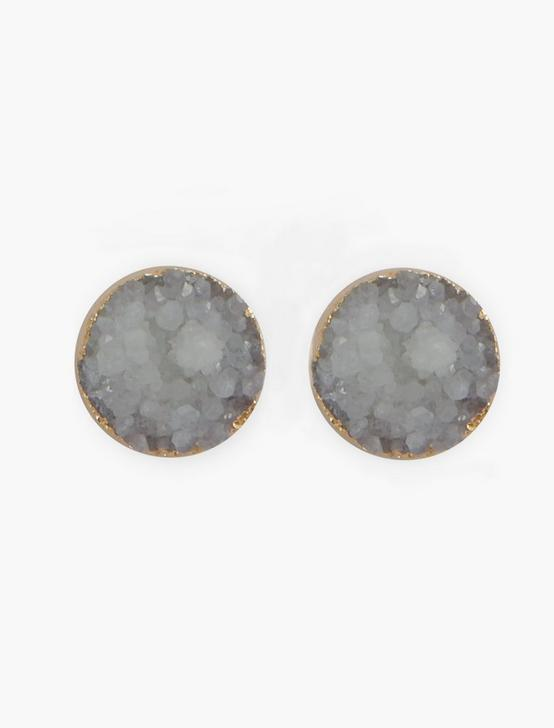 PURPLE DRUZY STUD EARRINGS, SILVER, productTileDesktop